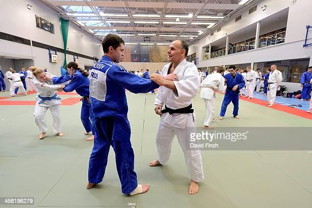 Russian coach Ezio Gamba coaches Pavel Malakhov of Russia during the Tonbridge International Judo Training Camp on December 20 2013 at Tonbridge...
