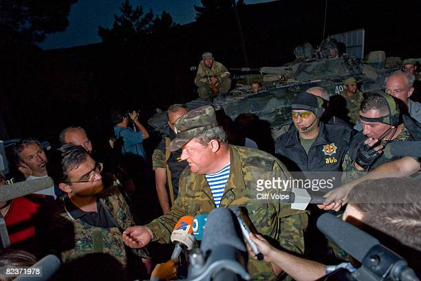 Russian commander answers questions for the media after speaking with Georgian security forces August 15 2008 in Igoeti Georgia US Secretary of State...