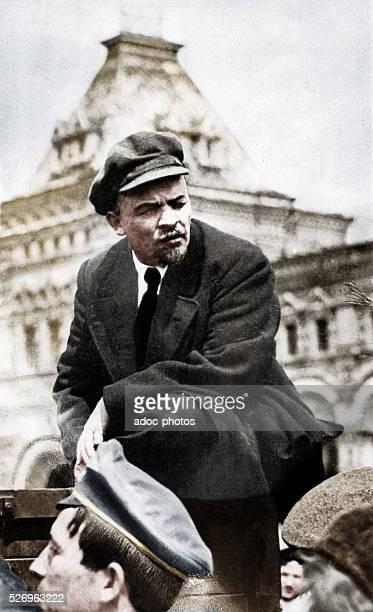 Russian communist revolutionary leader Vladimir Lenin at a Vsevobuch military parade on the first anniversary of the foundation of the Soviet armed...