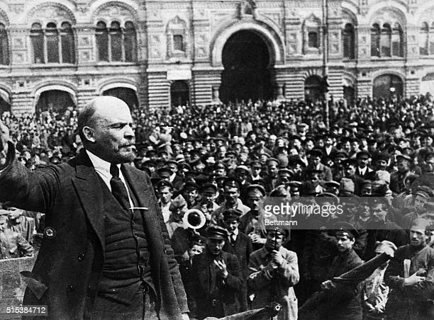 Russian communist revolutionary leader Vladimir Lenin giving a speech to Vsevobuch servicemen on the first anniversary of the foundation of the...