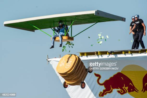 Russian competitors take part at the Red Bull 'Flugtag' event in Moscow on July 26 2015 A Flugtag which means 'flying day' in German is a competition...
