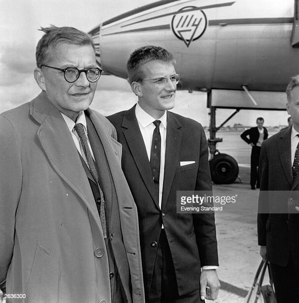 Russian composer and pianist Dmitri Shostakovich arriving in London with his son Maxim Original Publication People Disc HL0187
