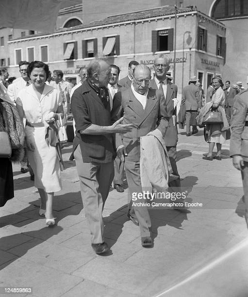 Russian composer Igor Fedorovich Stravinsky walking in Venice with his wife vera de Bosset Venice 1951