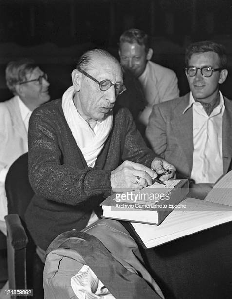 Russian composer Igor Fedorovich Stravinsky writing notes dow Venice 1951