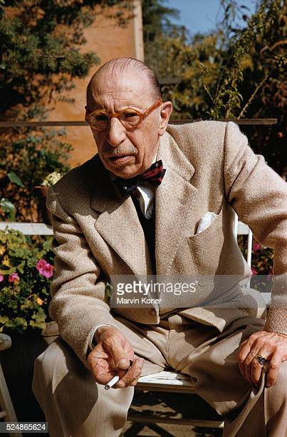 Russian composer Igor Stravinsky outside his Los Angeles home, circa 1955.