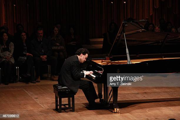 Russian concert pianist Evgeny Kissin performs a solo piano recital with works by composers Beethoven Prokofiev Chopin and Liszt at Barbican Centre...
