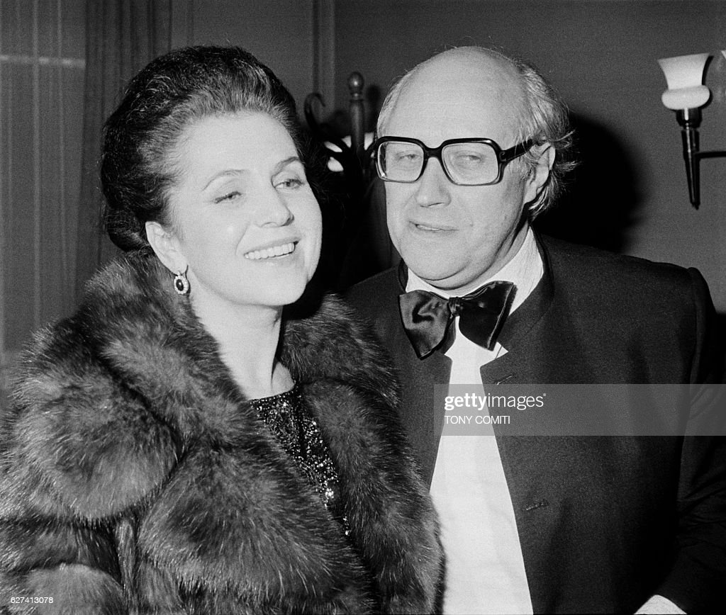 Russian conductor, cellist and pianist Mstislav Rostropovitch with his wife, soprano Galina Vichnevskaia, after a concert at Salle Pleyel.
