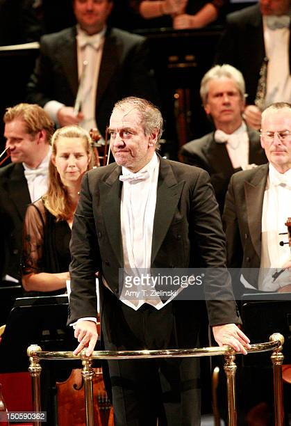Russian conductor Valery Gergiev acknowledges the crowd after leading the London Symphony Orchestra in composer Sergei Prokofiev's ballet score to...