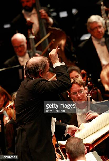 Russian conductor Valery Gergiev leads the London Symphony Orchestra in composer Sergei Prokofiev's ballet score to 'Cinderella' during Prom 52 of...