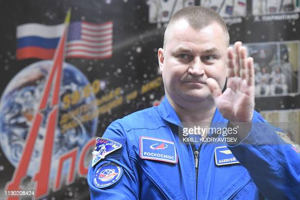 Russian cosmonaut Alexey Ovchinin a member of the International Space Station expedition 59/60 attends a press conference at the Russianleased...
