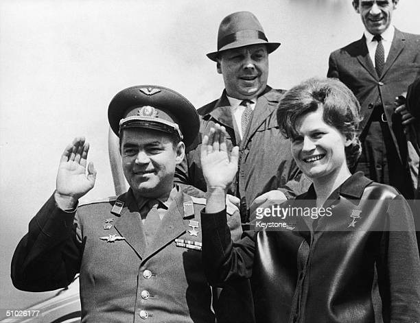 Russian cosmonaut Andrian Grigoryevich Nikolayev and his wife Valentina Tereshkova the first woman in space arriving in Paris 10th May 1965