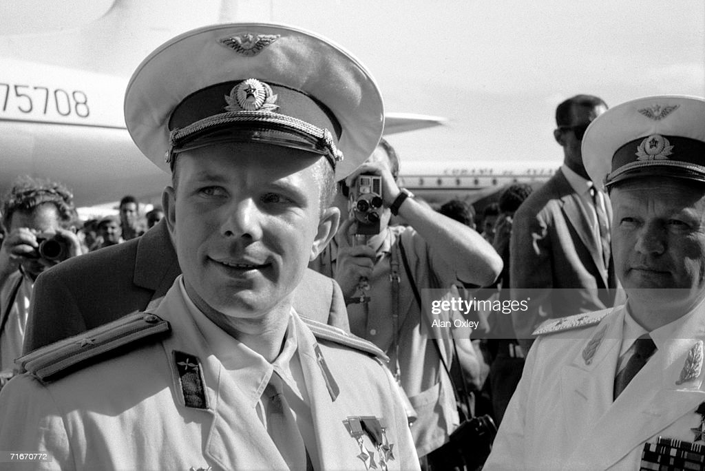 Russian cosmonaut Col Yuri Alexeyevich Gagarin (1934 - 1968) arrives at Havana airport on an official visit, 24th July 1961. Gagarin, recently the first man in space, was to die in a MIG-15 plane accident seven years later at the age of 34.