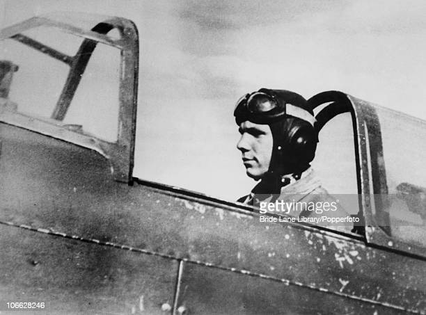 Russian cosmonaut Yuri Gagarin in the cockpit of an aircraft at a training school for pilots in the Soviet Union circa 1955