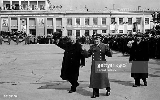 Russian cosmonaut Yuri Gagarin with Soviet leader Nikita Khrushchev at Vnukovo Airport in Moscow following his successful space mission 14th April...