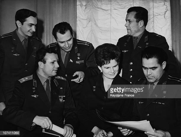 Russian Cosmonauts including Valentina Tereshkova and Yuri Gagarin circa 1965