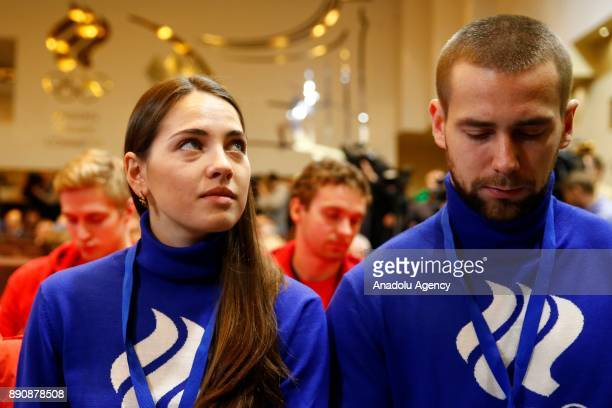 Russian curling players Anastasia Bryzgalova and Alexander Krushelnitsky attend a session of the Russian Olympic Committee to discuss the IOC...