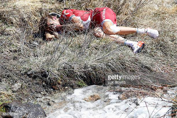 Russian cyclist Ilnur Zakarin of Katusha crashes during the Colle dell'Agnello downhill as part of the 19th stage of the 99th Giro d'Italia, Tour of...