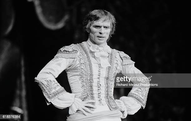Russian dancer and choreographer Rudolf Nureyev stands on stage during his 1976 production of Tchaikovsky's The Sleeping Beauty at the Palais des...