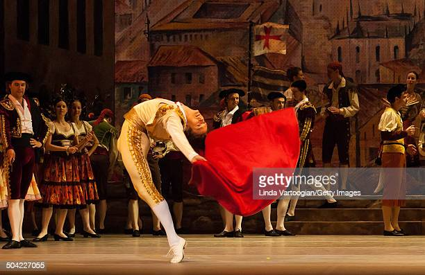 Russian dancer Denis Rodkin performs with the cast during a dress rehearsal for the Bolshoi Ballet production of 'Don Quixote' during the Lincoln...
