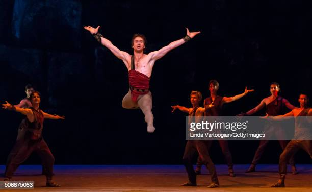 Russian dancer Mikhail Lobukhin at a dress rehearsal for the Bolshoi Ballet production of 'Spartacus' , during the Lincoln Center Festival at the...