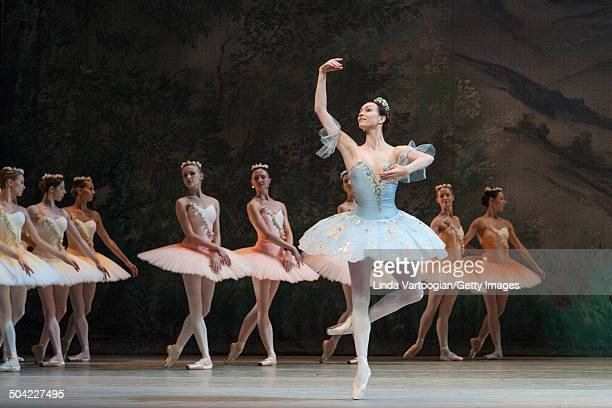 Russian dancer Olga Spinova performs with the cast during the dress rehearsal for the Bolshoi Ballet production of 'Don Quixote' during the Lincoln...