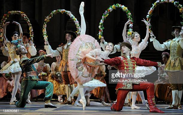 Russian dancer Svetlana Zakharova and the Bolshoi ballet dancers perform during a rehearsal for a new production of Tchaikovsky's 'The Sleeping...