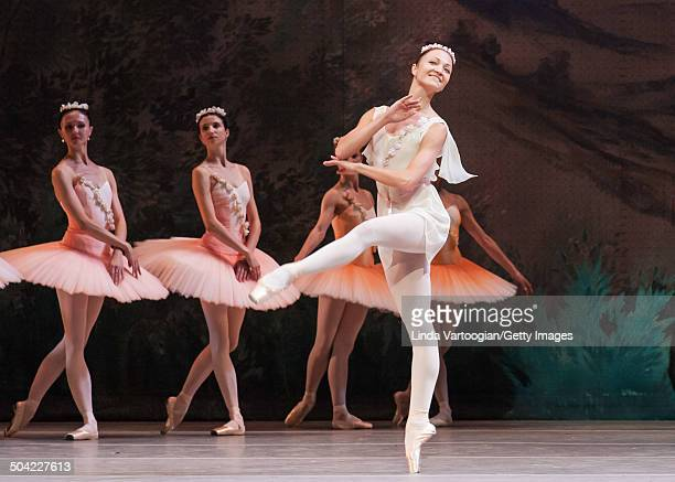 Russian dancer Yulia Lunkina performs with the cast during a dress rehearsal for the Bolshoi Ballet production of 'Don Quixote' during the Lincoln...