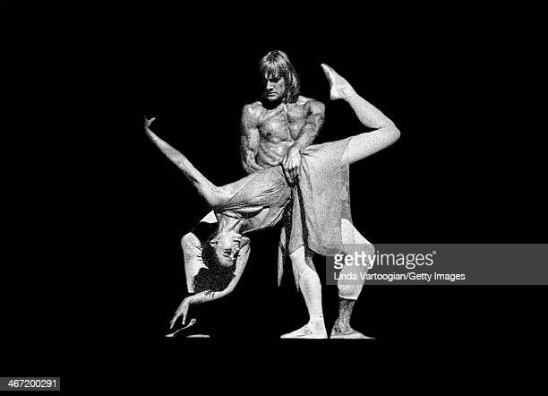 Russian dancers Alexander Godunov and prima ballerina assoluta Maya Plisetskaya perform in a scene from 'La Rose Malade' during a Stars of the...
