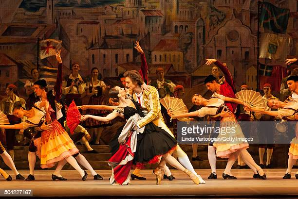 Russian dancers Anna Tikhomirova Denis Rodkin and cast perform during a dress rehearsal for the Bolshoi Ballet production of 'Don Quixote' during the...