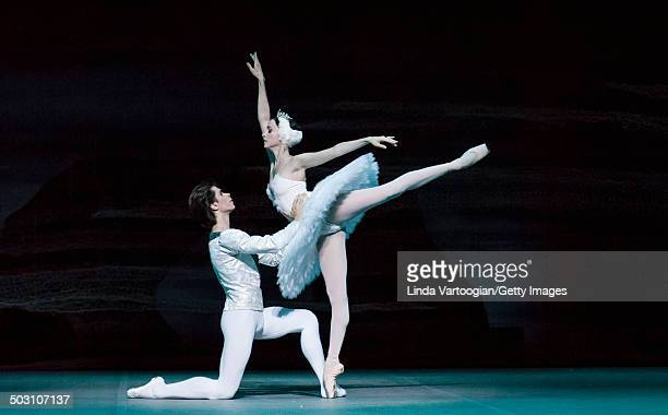 Russian dancers Artem Ovcharenko and Anna Nikulina during Act I in the Bolshoi Ballet production of 'Swan Lake' during the Lincoln Center Festival at...