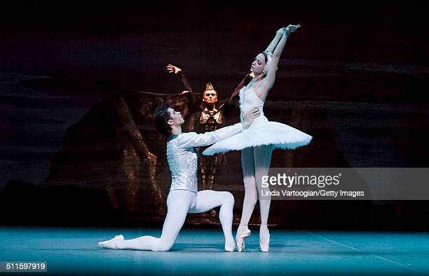 Russian dancers Artem Ovcharenko and Anna Nikulina perform during Act I in the Bolshoi Ballet production of 'Swan Lake' during the Lincoln Center...