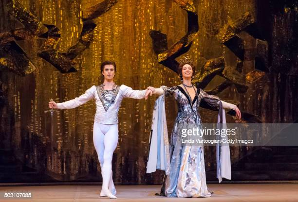 Russian dancers Artem Ovcharenko and Kristina Karasyova in the Bolshoi Ballet production of 'Swan Lake' during the Lincoln Center Festival at the...