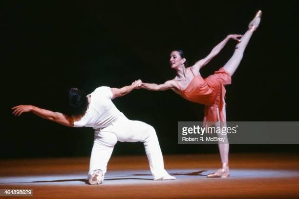 Russian dancers Irek Mukhamedov and Natalya Bessmertnova both of the Bolshoi Ballet perform a scene from 'The Golden Age' at Metropolitan Opera House...