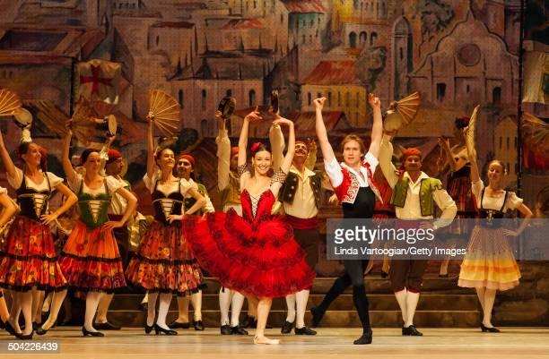 Russian dancers Kristina Kretova , Mikhail Lobukhin , and cast perform during a dress rehearsal for the Bolshoi Ballet production of 'Don Quixote'...
