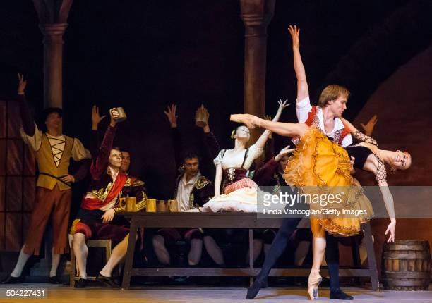 Russian dancers Kristina Kretova Mikhail Lobukhin and cast perform during a dress rehearsal for the Bolshoi Ballet production of 'Don Quixote' during...