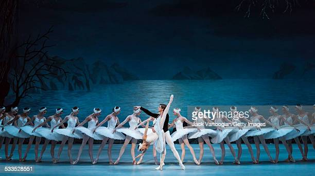Russian dancers Viktoria Tereshkina and Vladimir Shklyarov perform in the Mariinsky Ballet production of Peter Ilyich Tchaikovsky's 'Swan Lake' with...