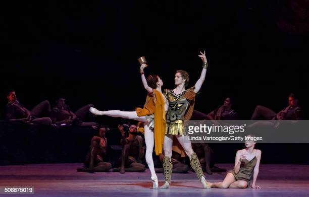 Russian dancers Vladislav Lantratov , Ekaterina Krysanova , and Anna Nikulina at a dress rehearsal for the Bolshoi Ballet production of 'Spartacus' ,...