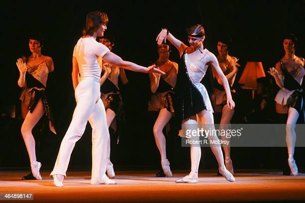 Russian dancers Yuri Vasyuchenko and Alla Mikhalchenko both of the Bolshoi Ballet perform a scene from 'The Golden Age' at Metropolitan Opera House...