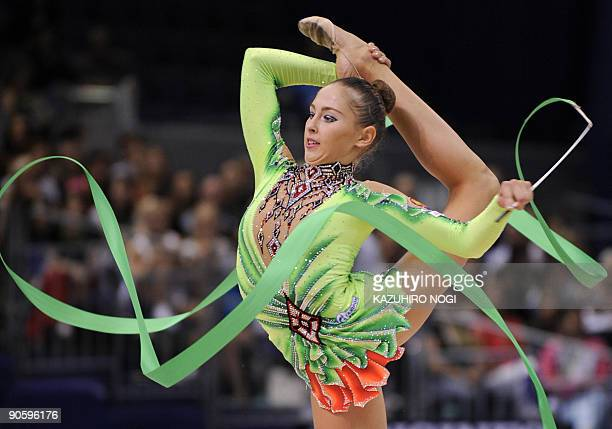 Russian Daria Kondakova performs with a rope during the individual allaround final at the Rhythmic Gymnastics World Championships in Ise in Japan's...