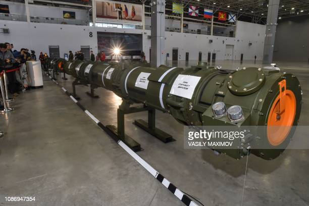 Russian Defence Ministry officials show off the Russia's 9M729 cruise missile at the military Patriot Park outside Moscow on January 23 2019 Moscow...