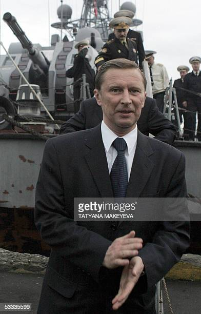 Russian Defense Minister Sergei Ivanov arrives at PetropavlovskKamchatsky after taking part in the rescue operation of the minisubmarine AS28 Priz 07...