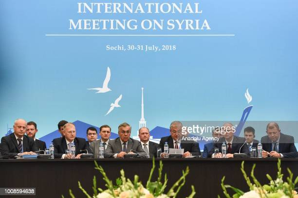 Russian delegates and Russia's special envoy to Syria Alexander Lavrentyev are seen at the 10th highlevel Astanaformat international meeting on Syria...