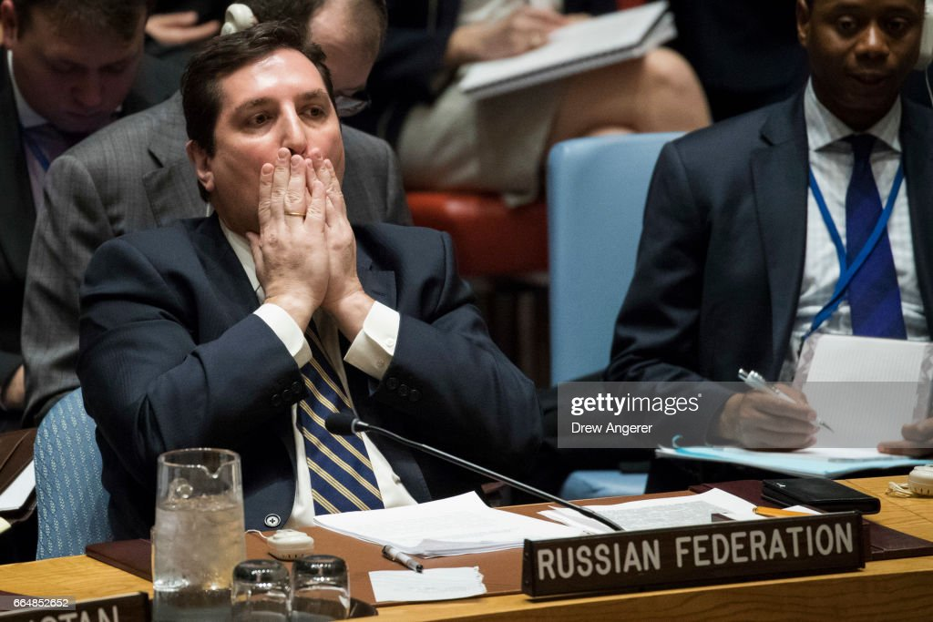 Russian Deputy Permanent Representative to the United Nations Vladimir Safronkov listens during a meeting of the United Nations Security Council at U.N. headquarters, April 5, 2017 in New York City. The Security Council is holding emergency talks on Wednesday following one of the worst chemical attacks in Syria.