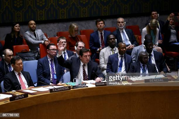 Russian Deputy Permanent Representative to the United Nations Vladimir Safronkov attends a meeting that gathered to hold a vote on a resolution...