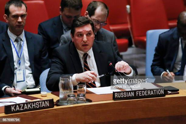 Russian Deputy Permanent Representative to the United Nations Vladimir Safronkov attends a UN Security Council meeting on the situation in the Middle...