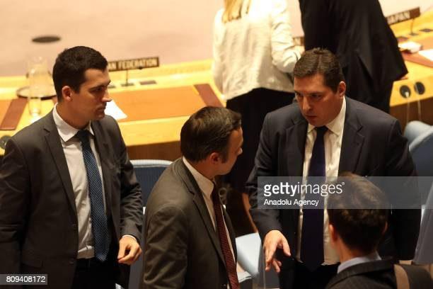 Russian Deputy Permanent Representative to the United Nations Vladimir Safronkov is seen after a meeting at the UN Security Council to discuss the...