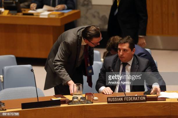 Russian Deputy Permanent Representative to the United Nations Vladimir Safronkov attends the UN Security Council meeting following UN Security...