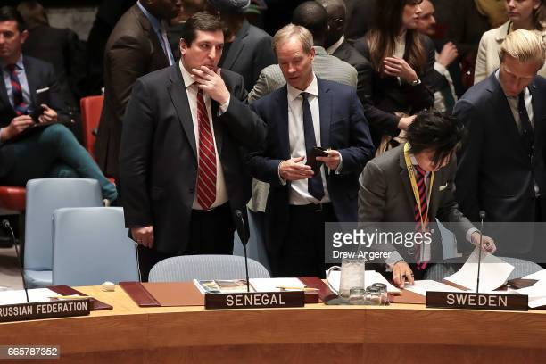Russian Deputy Permanent Representative to the United Nations Vladimir Safronkov speaks with Permanent Representative of Sweden to the United Nations...