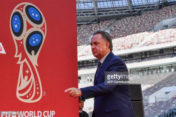 Russian Deputy Prime Minister and LOC chairman Vitaly Mutko arrives to attend the FIFA World Cup Trophy Tour Route announcement ceremony at Luzhniki...