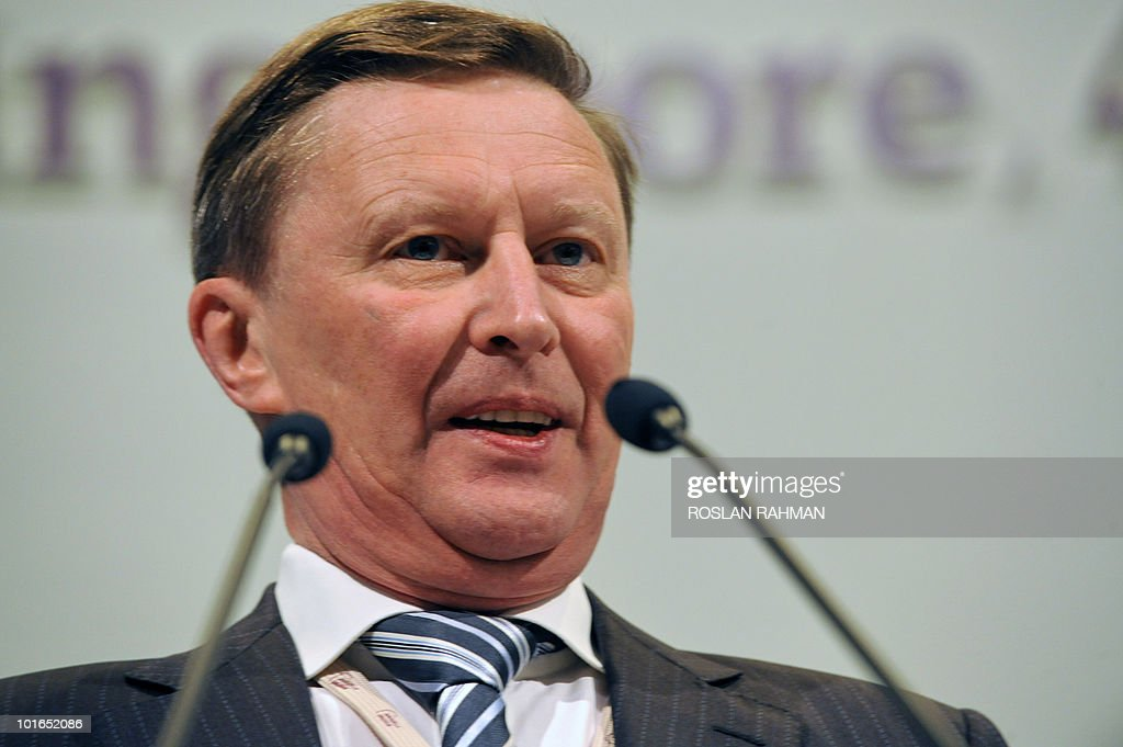 Russian Deputy Prime Minister Sergei Ivanov speaks during the Asia-Pacific security forum in Singapore on June 6, 2010. The annual Shangri-La Dialogue on security wrapped up its meetings today with a speech from Ivanov, among others, focusing on disaster relief and counter-insurgency operations.